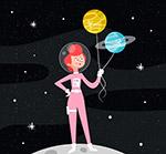 女宇航员和星球