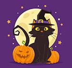 卡通万圣节黑猫
