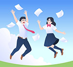 跳跃的男女学生