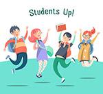 跳跃欢呼的学生