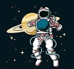 彩绘宇航员和土星