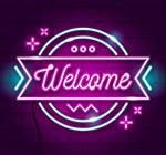 紫色欢迎霓虹灯
