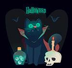 万圣节黑猫和蝙蝠