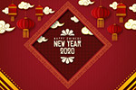 2020灯笼春节贺卡