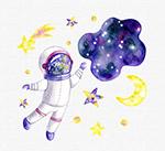 彩绘宇宙和宇航员