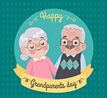 卡通祖父母节老人