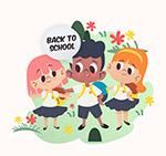 卡通可爱返校学生