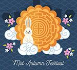 中秋节月饼和白兔