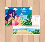 海边度假女子明信片