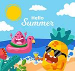 夏季海边度假水果