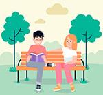 公园长椅上的男女