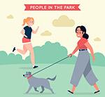 跑步和遛狗女子