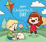儿童节郊外玩耍儿童