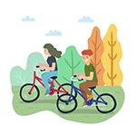 郊外骑单车的男女