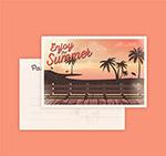 夏季沙滩椰树明信片