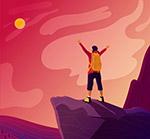 登山望夕阳的男子背影