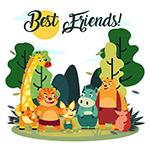 卡通笑脸森林动物