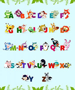 可爱动物装饰字母