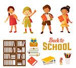 返校儿童和文具