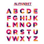 紫色拼色字母