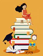 书堆上阅读的女子