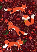 秋季狐狸和树叶