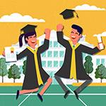 跳跃欢呼的毕业男女