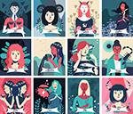 十二星座女子插画