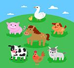 草地上的农场动物