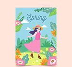 春季郊外女子卡片