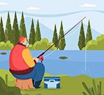 河边钓鱼男子