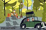 汽车尾气污染插画