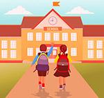 返校学生背影