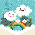 卡通云朵雨水彩虹