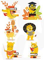 卡通黄色动物