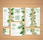 手绘绿叶婚礼卡片