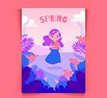 春季女孩卡片