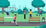 公园运动的男女