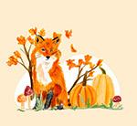秋季狐狸和南瓜