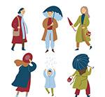 雨中的人物矢量
