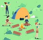 郊外野营度假人物
