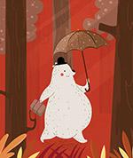撑伞行走的白熊