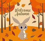 秋季森林兔子矢量