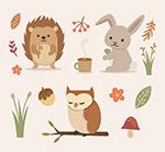 可爱秋季动物和花草