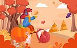 秋季女孩和动物