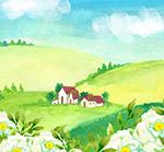 白色山茶花房屋风景