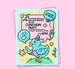 卡通鸟生日邀请卡