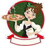 端披萨的女子