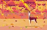 秋季风中的森林鹿