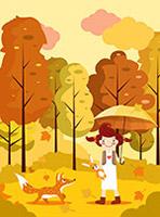 森林女孩和狐狸